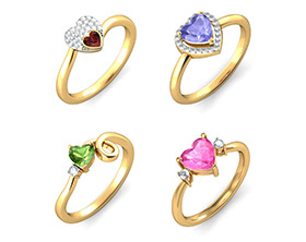 Coloured Stone Heart Rings
