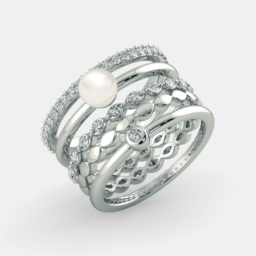 Buy Women\'s Pearl Ring Designs Online in India 2018 | BlueStone