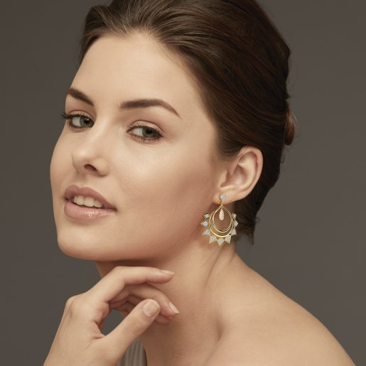 Diamond And White Topaz Earring In Yellow Gold (14.41 Gram) With Diamonds (1.310 Ct)