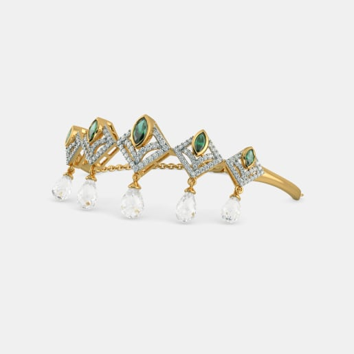 Diamond , Emerald And White Topaz Bracelet In Yellow Gold (11.56 Gram) With Diamonds (1.087 Ct)