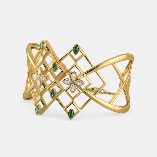 Diamond And Emerald Bracelet In Yellow Gold (38.41 Gram) With Diamonds (0.960 Ct)