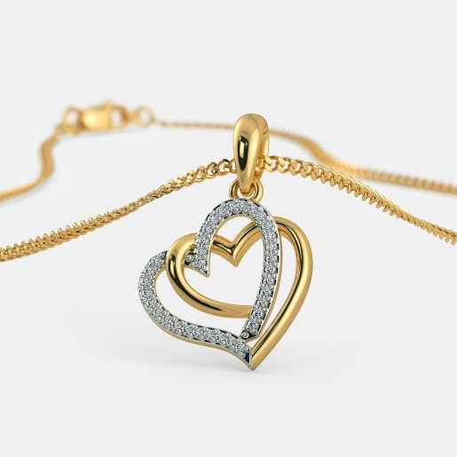 Buy gold love pendant designs online in india 2018 bluestone the entwined in love pendant aloadofball Choice Image