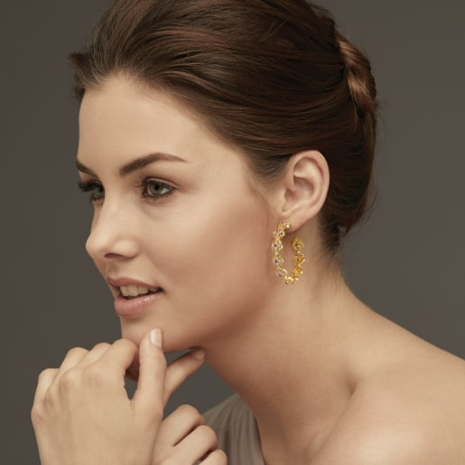 Diamond And Pink Tourmaline Earring In Yellow Gold (13.97 Gram) With Diamonds (0.390 Ct)