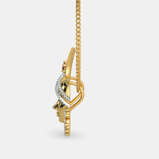 Diamond And Ruby Pendant In Yellow Gold (2.74 Gram) With Diamonds (0.280 Ct)