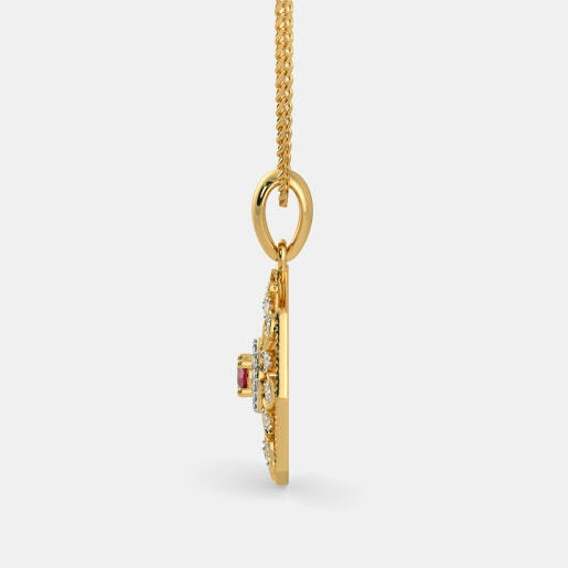 Diamond And Ruby Pendant In Yellow Gold (2.91 Gram) With Diamonds (0.155 Ct)
