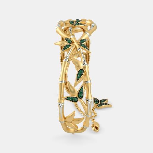 Emerald Bangle In Yellow Gold (23.8 Gram)