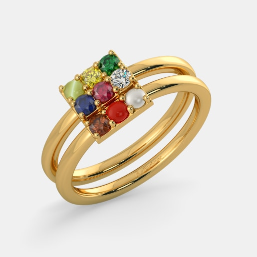 Diamond And Navaratna 1 Ring In Yellow Gold (5.77 Gram) With Diamonds (0.069 Ct)