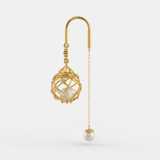 Diamond , Ruby And White Pearl Earring In Yellow Gold (6.32 Gram) With Diamonds (0.144 Ct)