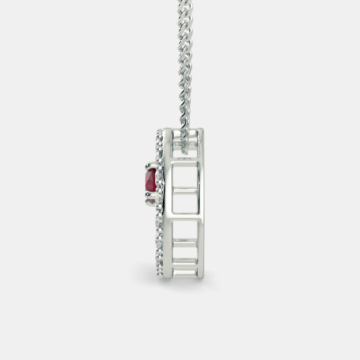 Ruby And Diamond Pendant In White Gold (3.12 Gram) With Diamonds (0.608 Ct)