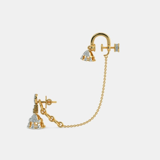 Diamond Earring In Yellow Gold (10 Gram) With Diamonds (0.868 Ct)