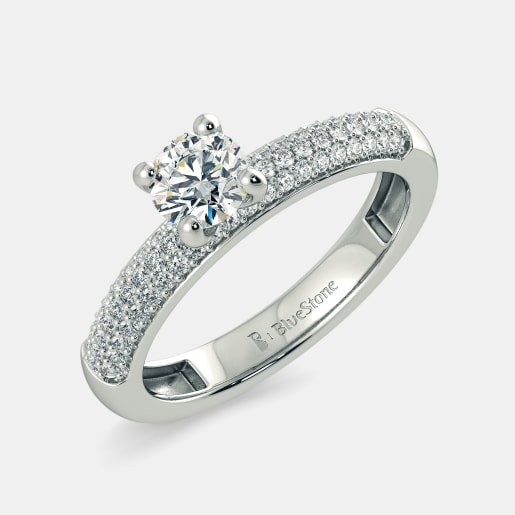 Diamond PreSet Solitaire Ring In White Gold (3.699 Gram) With Diamonds (0.310 Ct) And Solitaire (0.15 Ct)