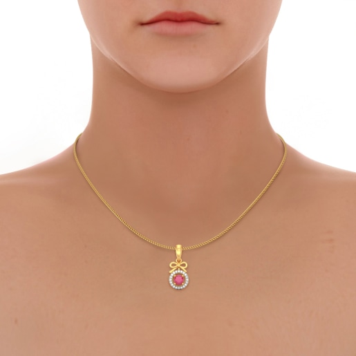 Diamond And Ruby Pendant In Yellow Gold (1.183 Gram) With Diamonds (0.100 Ct)