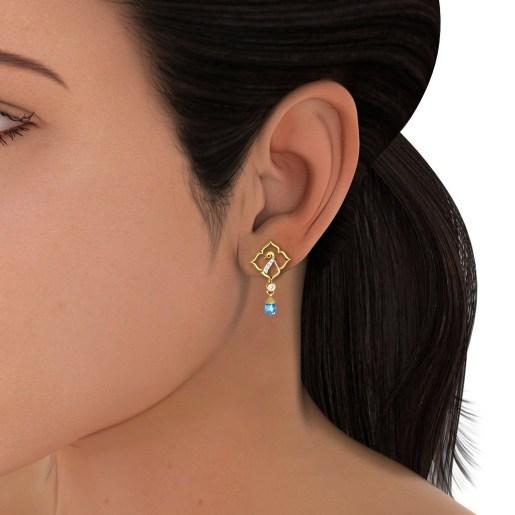 The Aqua Feather Earrings