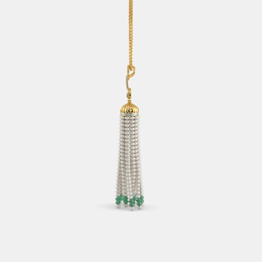 Diamond , Emerald And Tassel Pendant In Yellow Gold (4.62 Gram)
